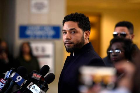 Actor Jussie Smollett talks to the media before leaving Cook County Court after his charges wer ...