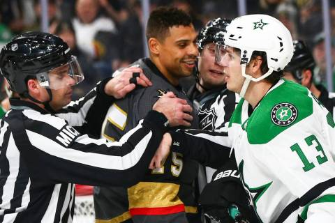 Golden Knights right wing Ryan Reaves (75) exchanges words with Dallas Stars center Mattias Jan ...