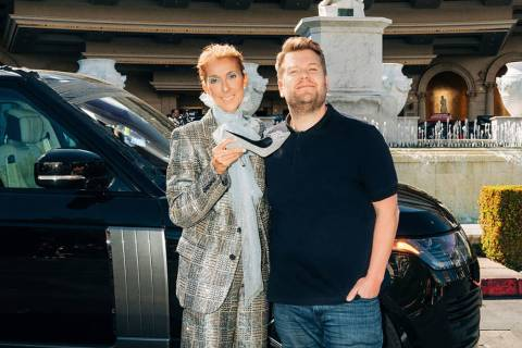 """Carpool Karaoke"" with Celine Dion on "":The Late Late Show with James Corden."" (Terence Patrick ..."