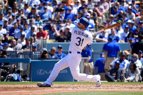 Los Angeles Dodgers' Joc Pederson hits a two-run home run during the second inning of a basebal ...