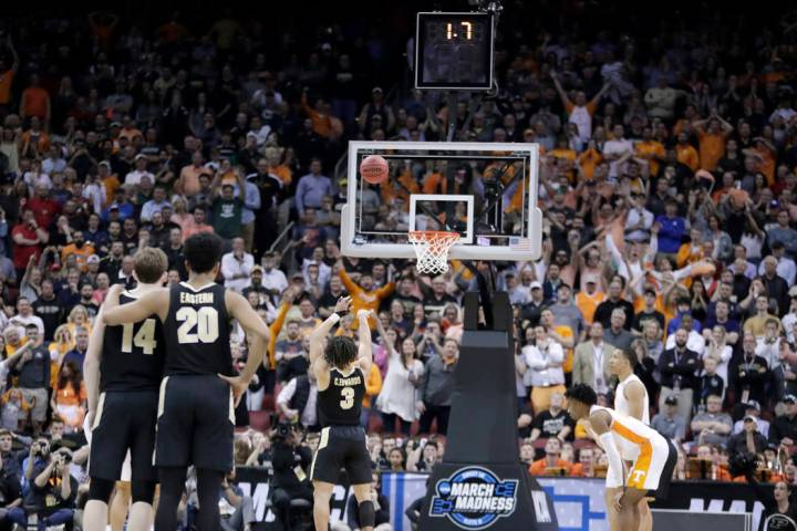 Purdue's Carsen Edwards shoots a free throw in the final seconds of the second half of a men's ...