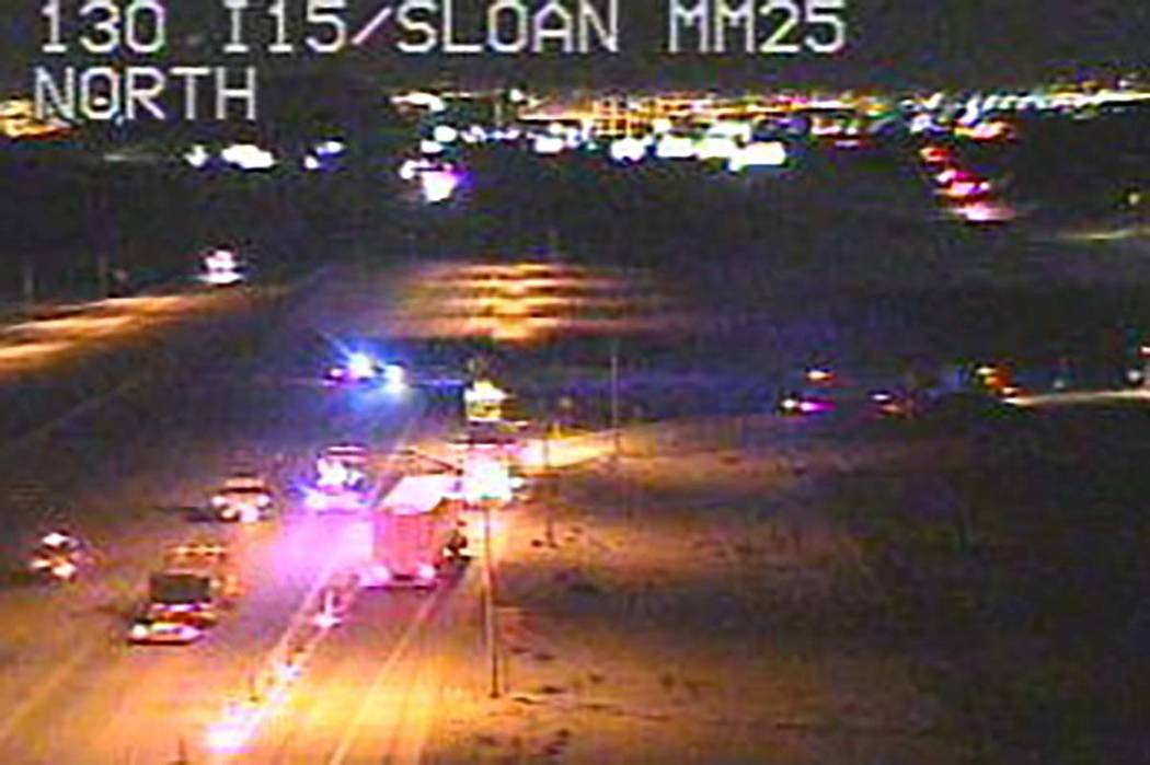 Northbound lanes of I-15 remain closed at the Sloan exit after a deadly crash on Thursday, Marc ...