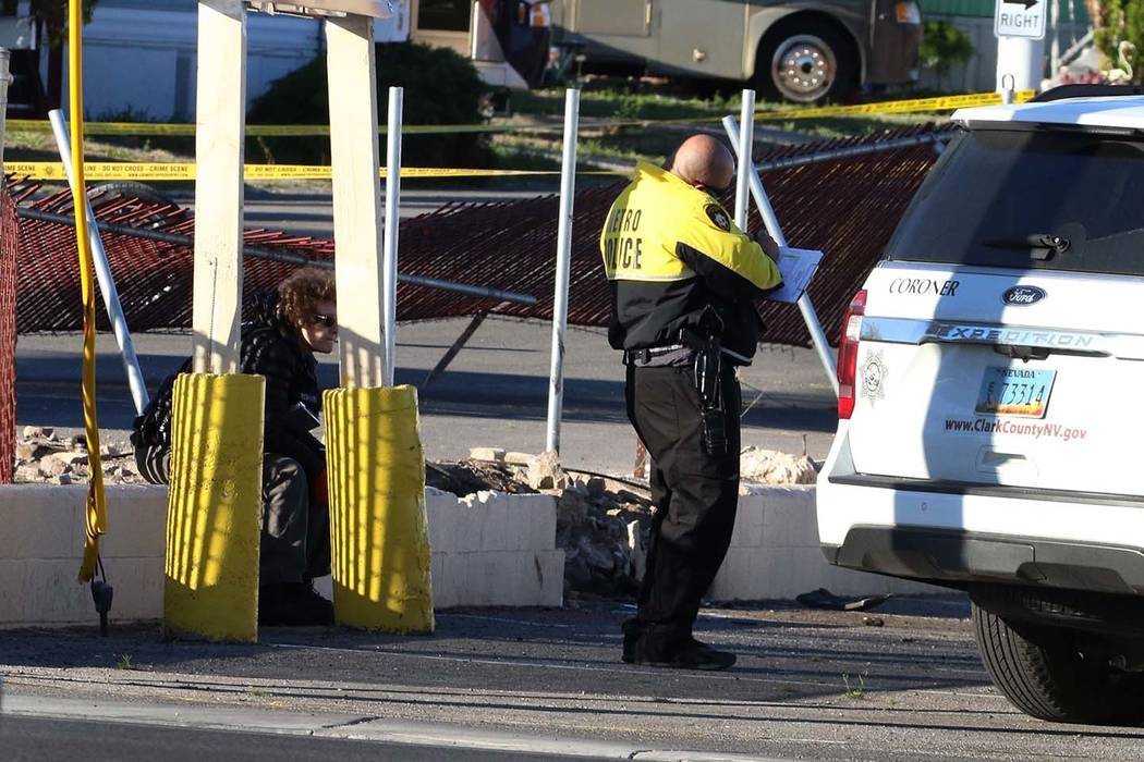 Las Vegas police are investigating a deadly crash that has shout down all southbound lanes on B ...