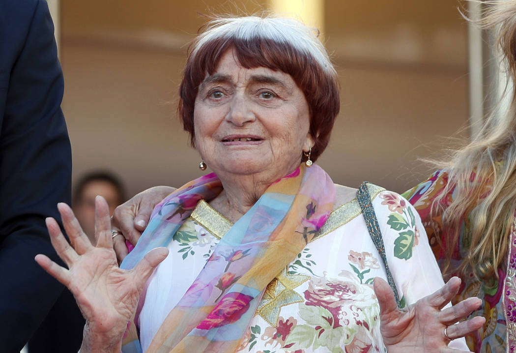 FILE - In this May 19, 2017 file photo, filmmaker Agnes Varda appears at the screening of the f ...