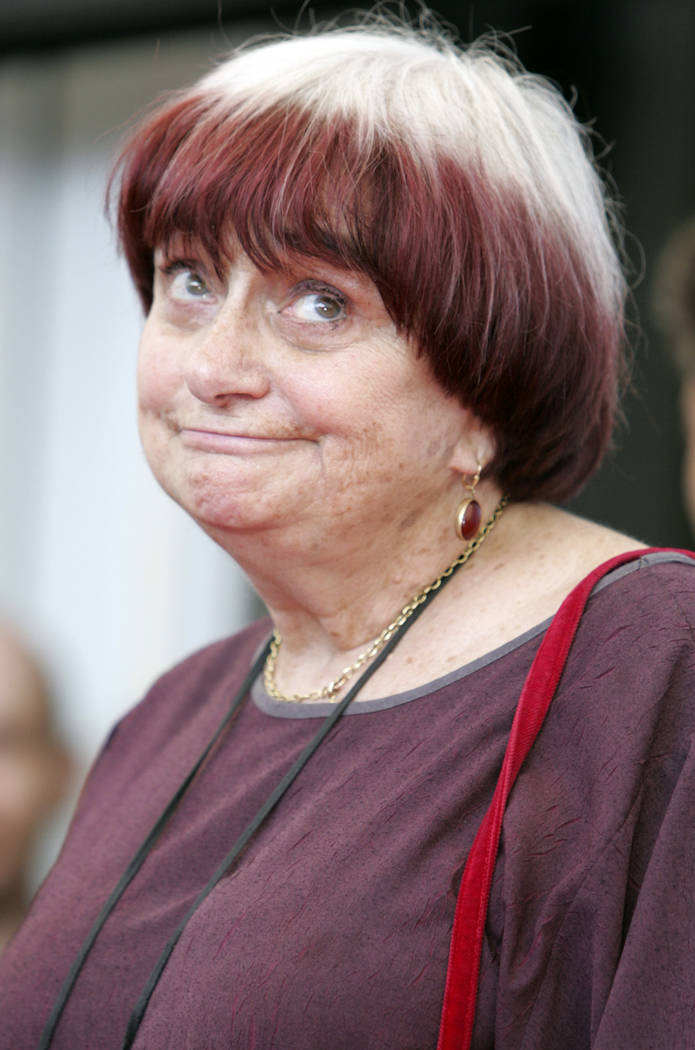 FILE - in this Wednesday, Sept. 3, 2008 file picture, director Agnes Varda poses during the pho ...