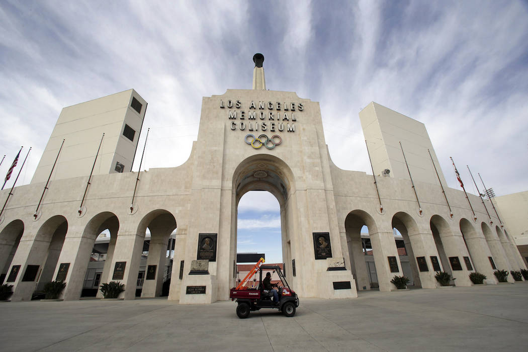 This Jan. 13, 2016 file photo shows the peristyle of the Los Angeles Memorial Coliseum. (AP Pho ...