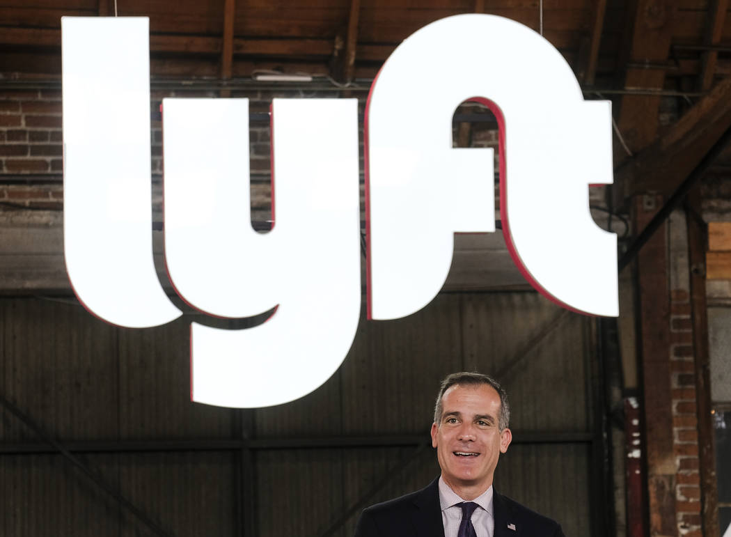 Los Angeles mayor Eric Garcetti speaks during and event for Lyft in Los Angeles, Friday, March ...