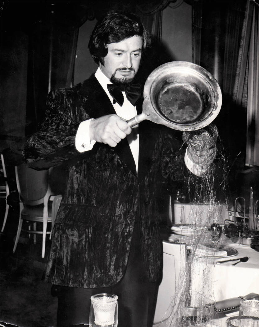 """Georges LaForge preparing his """"Lovers Delight"""" dessert in an undated phoot (Diana LaForge)"""