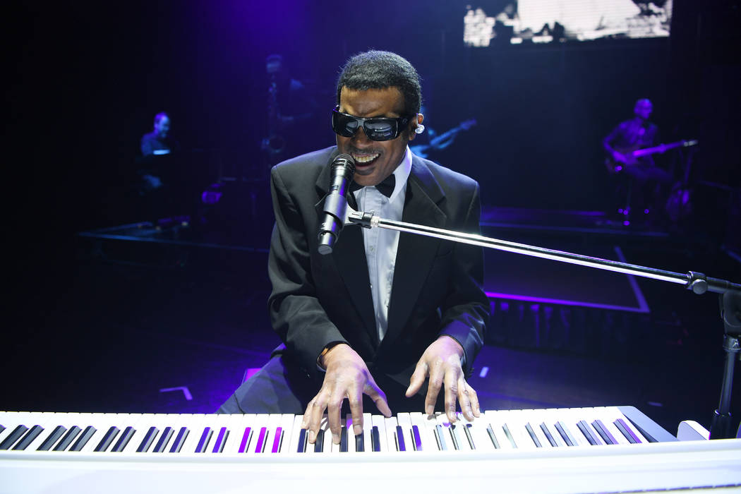 "Pete Peterkin portrays Ray Charles in ""The Greatest Piano Men"" at Flamingo Las Vegas. (Denise T ..."