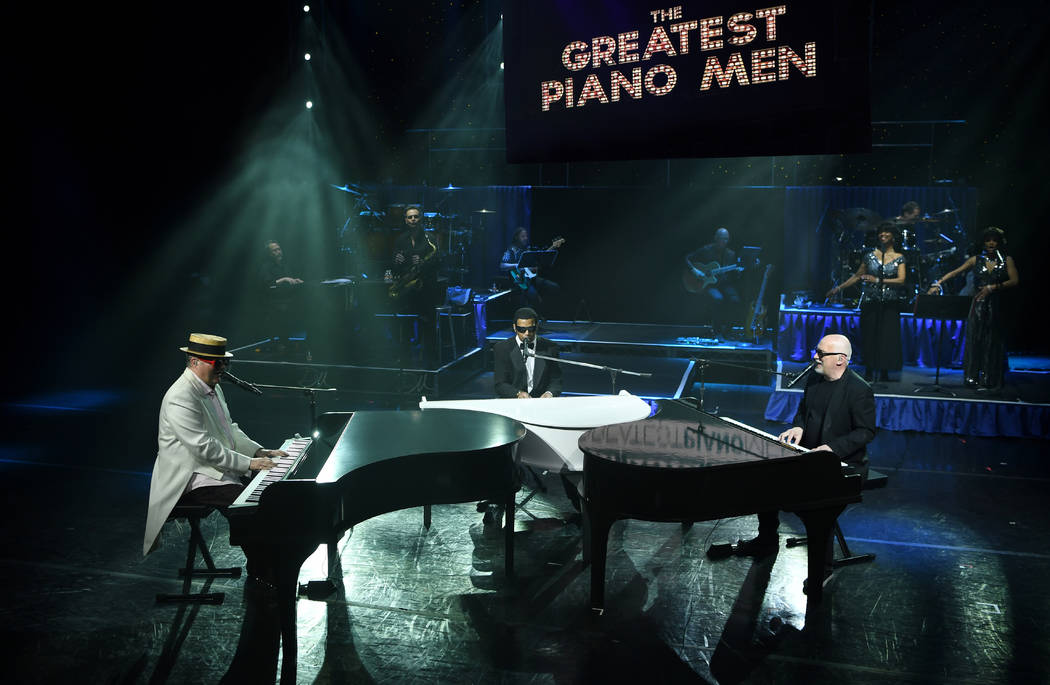 "Greg Ransom, Pet Peterkin and Donnie Kehr are shown in ""The Greatest Piano Men"" at Flamingo Las ..."