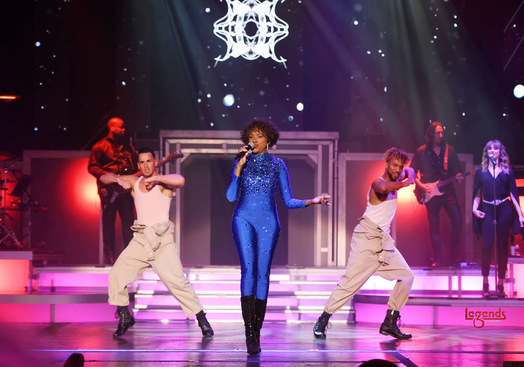 """Jazmine Katrina of """"Legends In Concert"""" is shown during its premiere at Tropicana Las Vegas on ..."""
