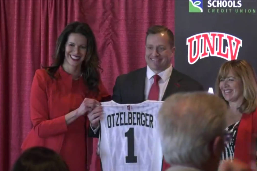 UNLV athletic director Desiree Reed-Francois and acting university president Marta Meana introd ...