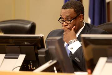 Las Vegas City Councilman Cedric Crear listens to public comment after being sworn in as Ward 5 ...