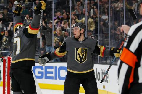 Vegas Golden Knights left wing Max Pacioretty, left, celebrates after center Paul Stastny, righ ...