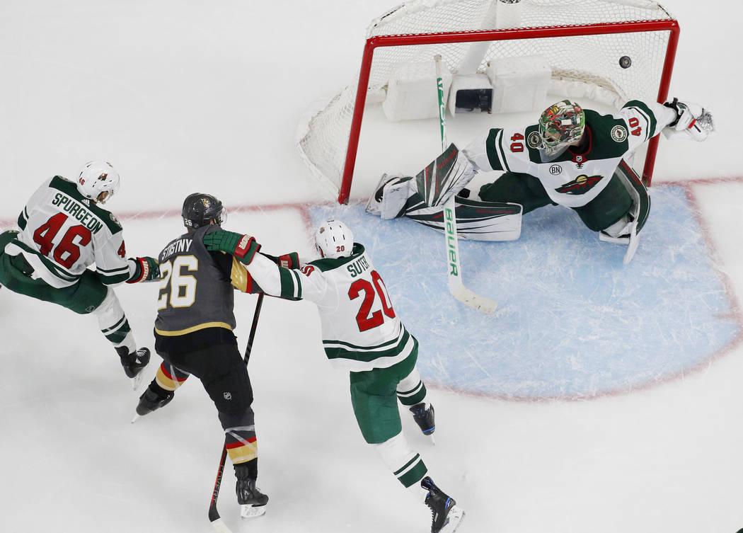 Vegas Golden Knights center Paul Stastny (26) scores against Minnesota Wild goaltender Devan Du ...
