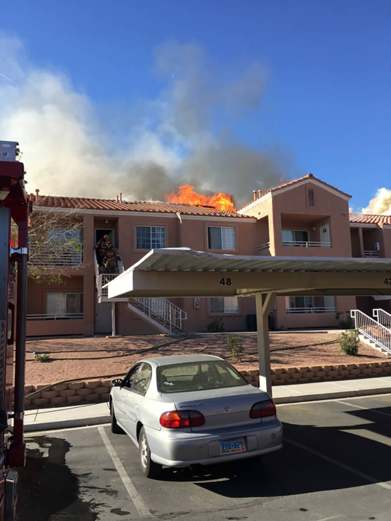 North Las Vegas and Las Vegas firefighters responded to a fire at 3318 N. Decatur Blvd. on Frid ...