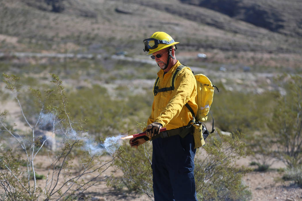 Dave Wagner, firefighter for Station 70 in Trout Canyon, uses a fusee during a training session ...