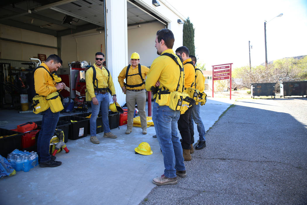 Students and firefighters attend a training session at Fire Station 80 in Blue Diamond, Saturda ...