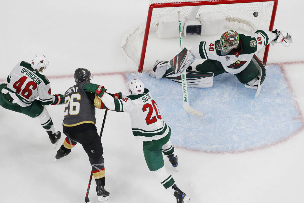 f9b1f79b9 Vegas Golden Knights center Paul Stastny (26) scores against Minnesota Wild  goaltender Devan Du