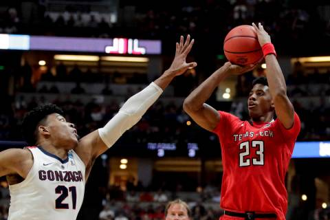 Texas Tech guard Jarrett Culver, right, shoots over Gonzaga forward Rui Hachimura during the se ...