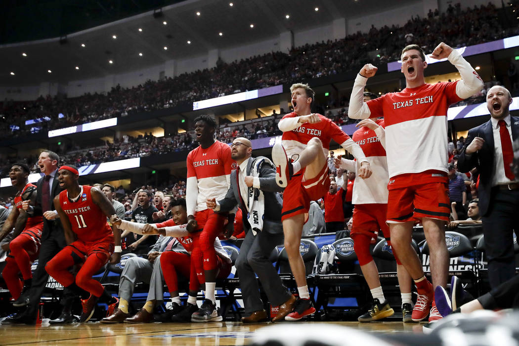 Texas Tech celebrates after the team scored against Gonzaga during the second half of the West ...