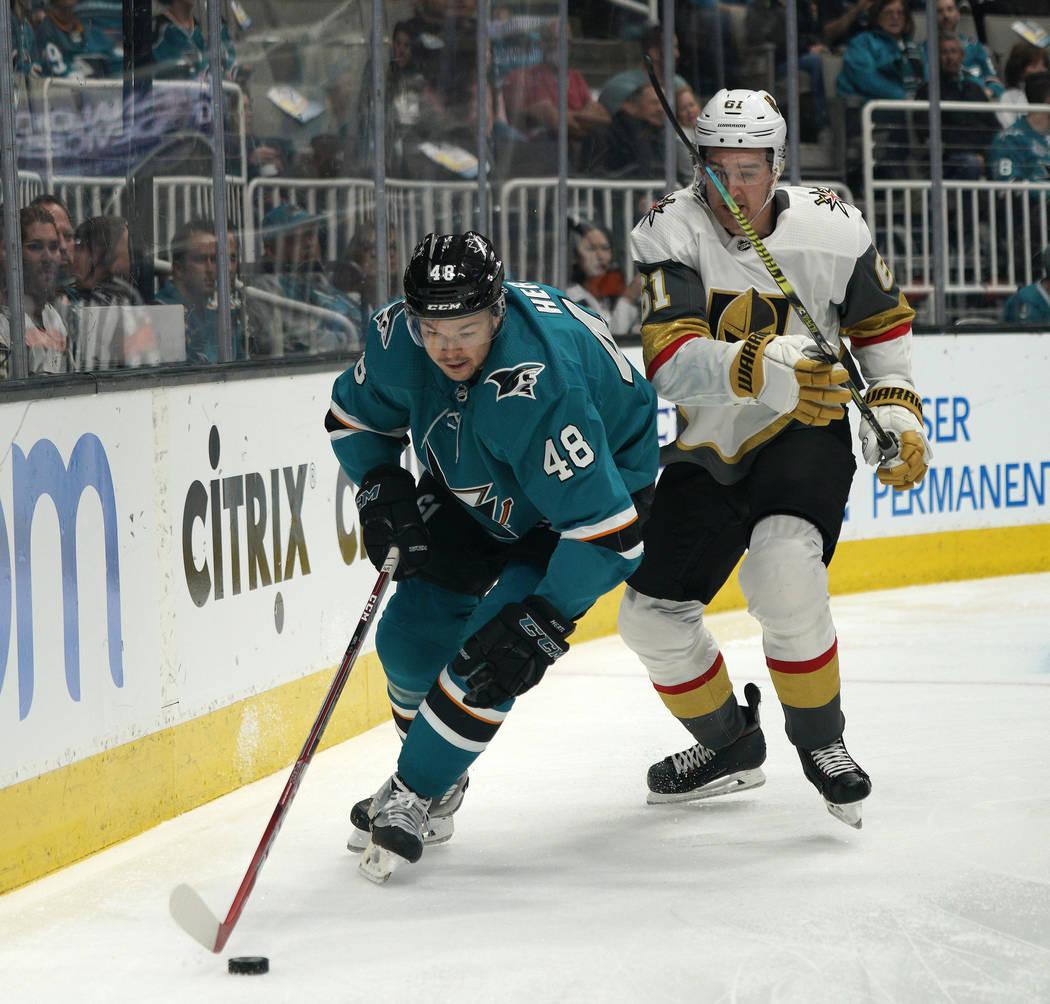 San Jose Sharks center Tomas Hertl (48) skates past Vegas Golden Knights right wing Mark Stone ...