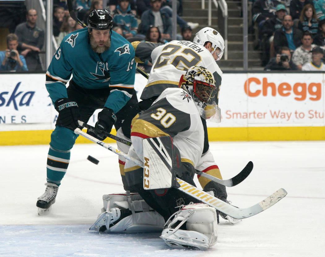 Vegas Golden Knights goaltender Malcolm Subban (30) blocks a shot against the San Jose Sharks a ...