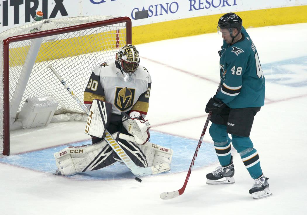 Vegas Golden Knights goaltender Malcolm Subban (30) allows a goal in overtime by San Jose Shark ...