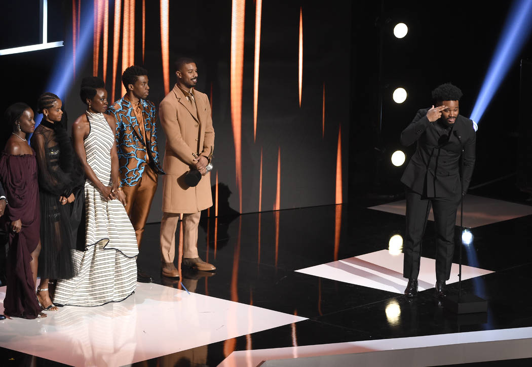 """Ryan Coogler, right, and the cast of """"Black Panther,"""" accept the award for outstandin ..."""