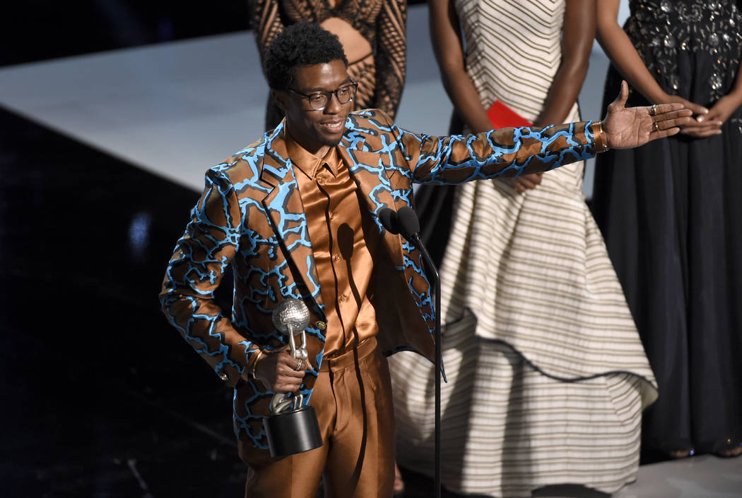 """Chadwick Boseman accepts the award for outstanding actor in a motion picture for """"Black Pa ..."""