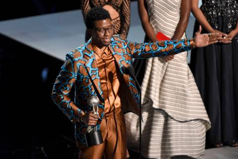 "Chadwick Boseman accepts the award for outstanding actor in a motion picture for ""Black Pa ..."