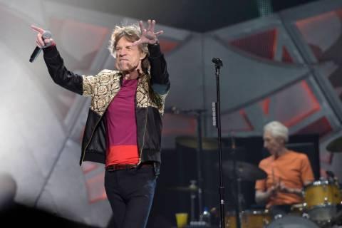Mick Jagger of The Rolling Stones performs Saturday, Oct. 22, 2016, at T-Mobile Arena in Las Ve ...