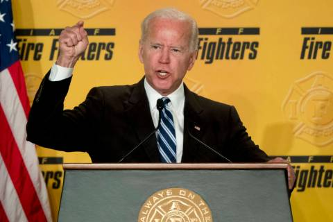 FILE - In this March 12, 2019, file photo, former Vice President Joe Biden speaks to the Intern ...