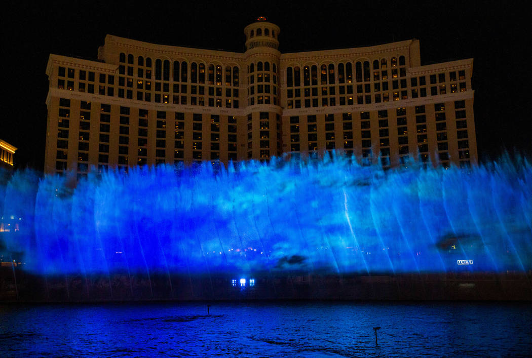 A wall of blue flames during the debut of the new water show based on ÒGame of Thrones&#xd ...
