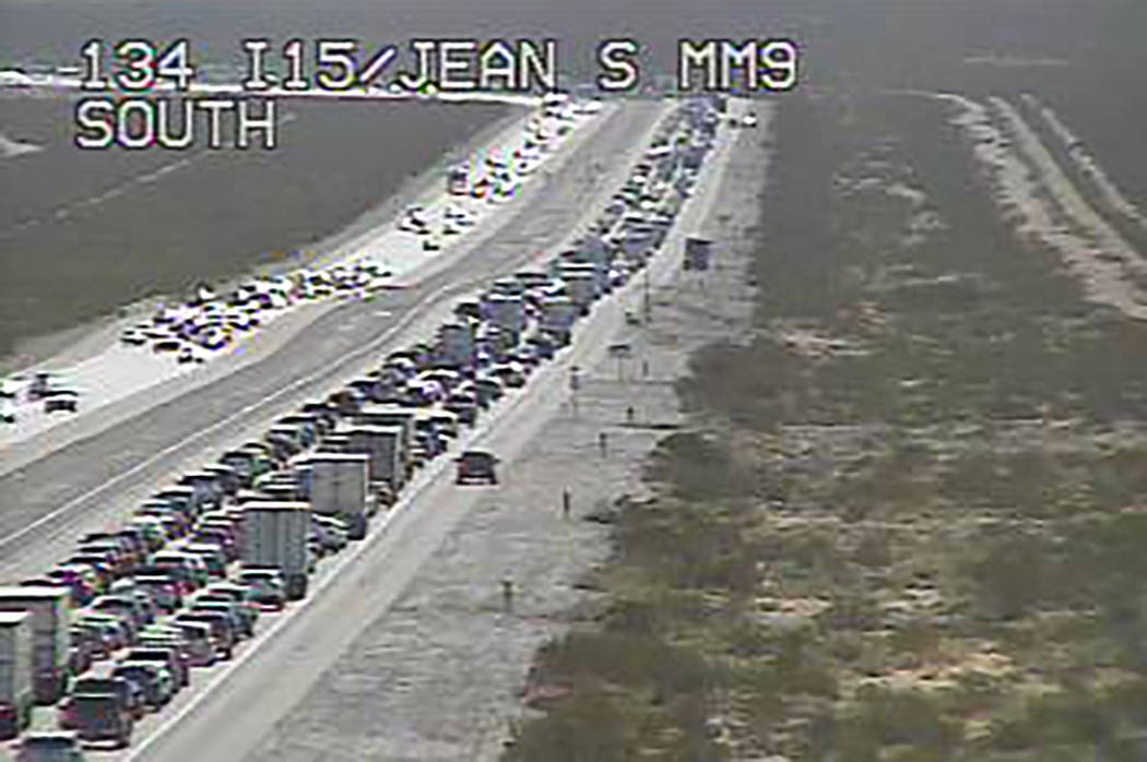 Drivers heading toward California on Interstate 15 should expect heavy traffic and a 13-mile ba ...