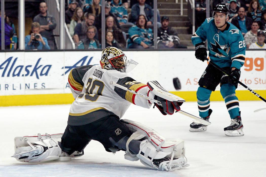 Vegas Golden Knights goaltender Malcolm Subban (30) blocks a shot by San Jose Sharks right wing ...