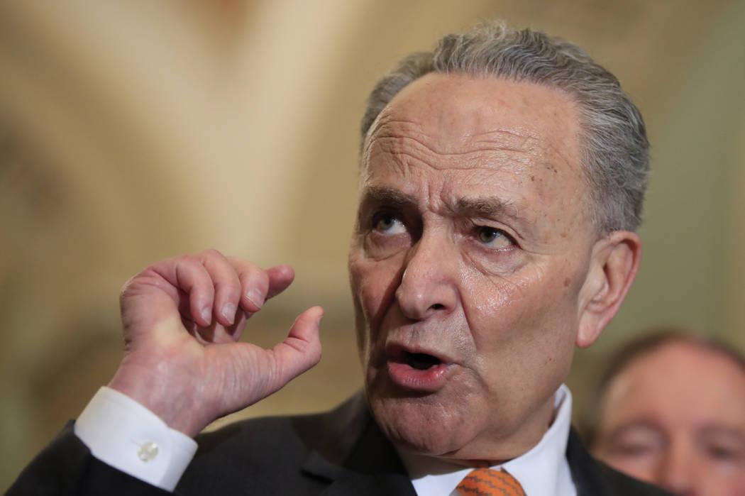 FILE - In a Feb. 26, 2019 file photo, Senate Minority Leader Chuck Schumer of N.Y. speaks to re ...
