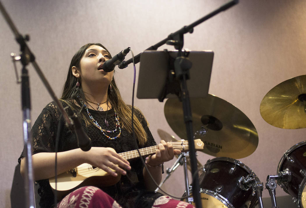 Kristina Hernandez performs at the Trans Day of Visibility event at The Center in Las Vegas, Su ...
