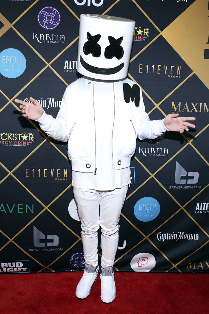 Marshmello arrives at the Maxim Super Bowl Party at the Maxim Dome on Saturday, Feb. 3, 2018, i ...