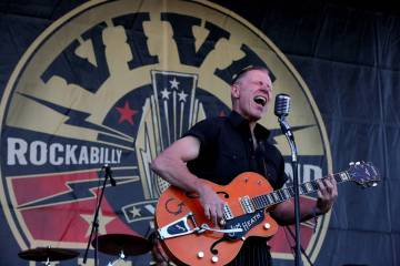 Jim Heath, Reverend Horton Heat, rocks a crowd of thousands at the Viva Las Vegas Rockabilly We ...