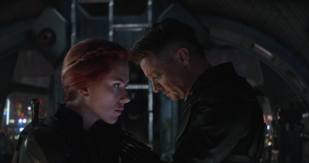 "Scarlett Ingrid Johansson and Jeremy Renner in a scene from ""Avengers: Endgame."""