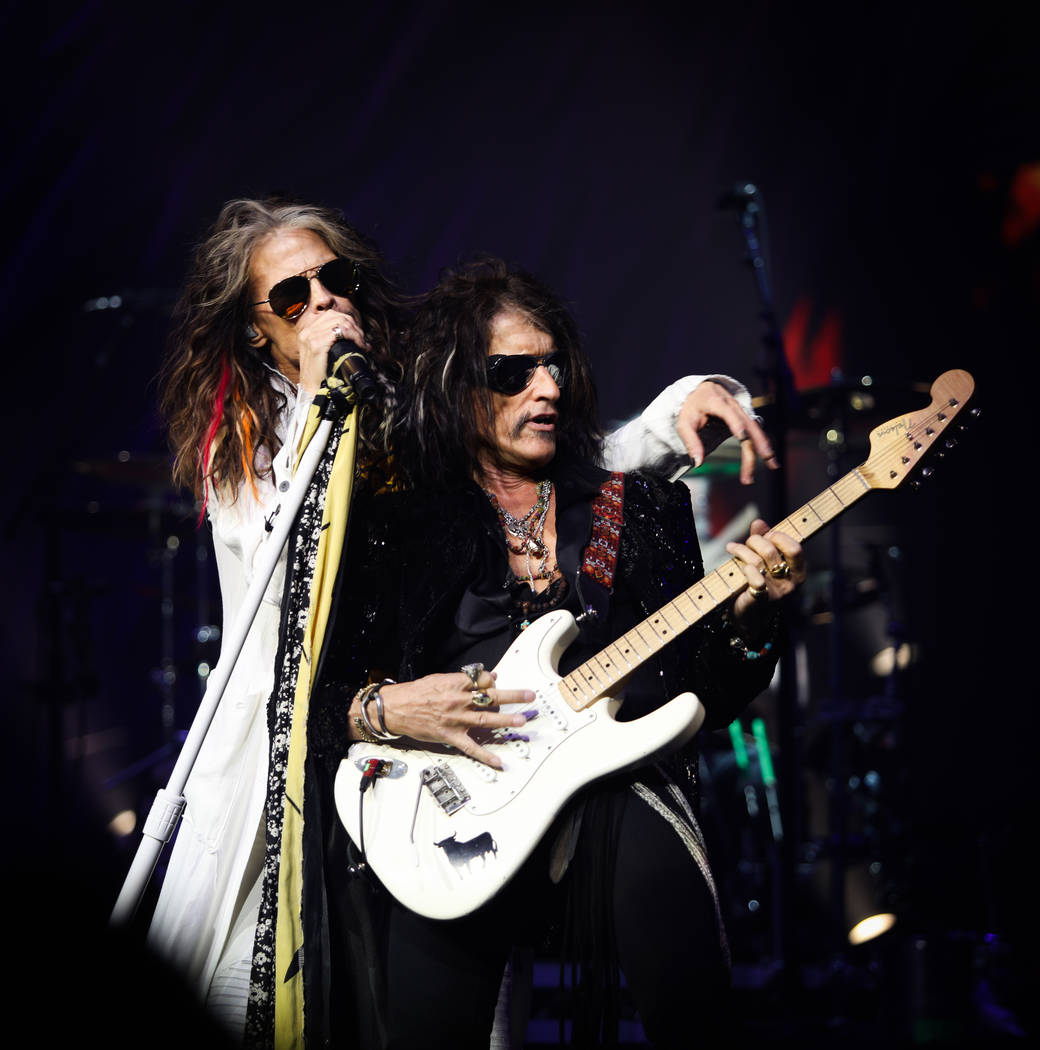 "Steven Tyler and Joe Perry of Aerosmith is shown on opening night of its ""Deuces Are Wild"" resi ..."