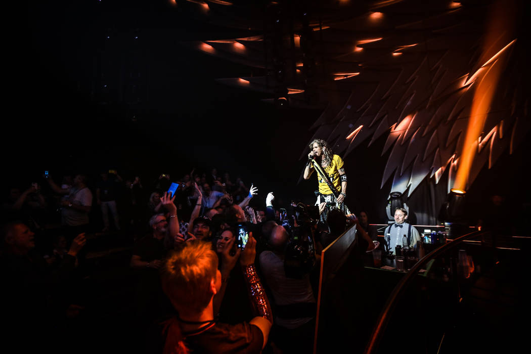 "Aerosmith is shown on opening night of its ""Deuces Are Wild"" residency at Park Theater at Park ..."