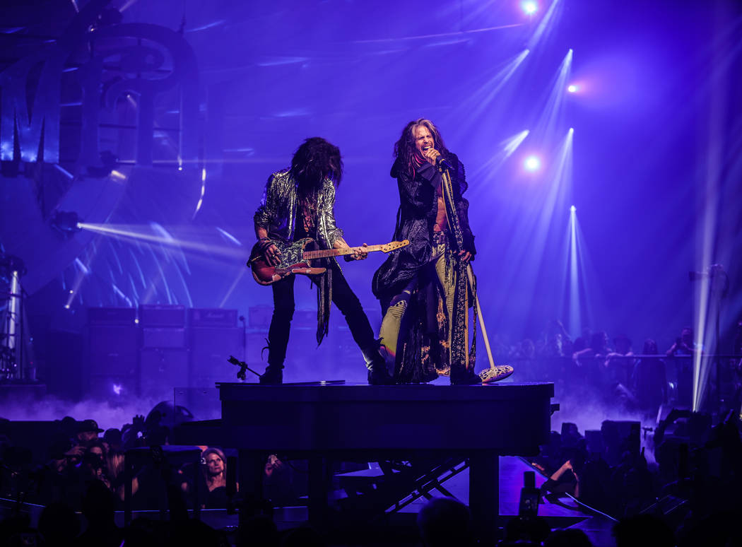 """Joe Perry and Steven Tyler of Aerosmith is shown on opening night of its """"Deuces Are Wild"""" resi ..."""