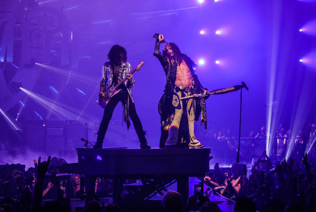 """Joe Perry and Steven Tyler of Aerosmith is shown on opening night of the band's """"Deuces Are Wil ..."""