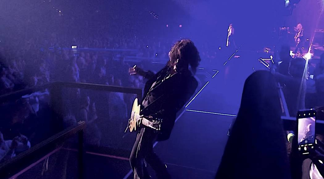 "Joe Perry of Aerosmith is shown on opening night of the band's ""Deuces Are Wild"" residency at P ..."