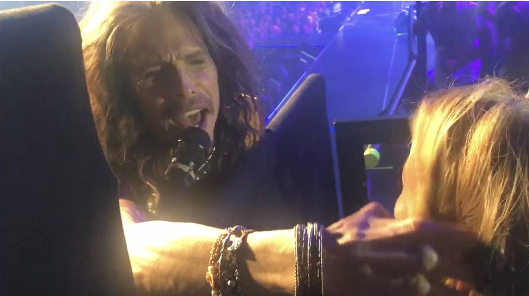 "Steven Tyler of Aerosmith is shown on opening night of the band's ""Deuces Are Wild"" residency a ..."