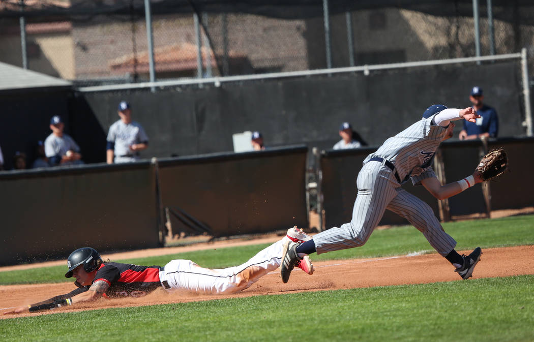 Bryson Stott, left, shown last month, went 3-for-4 with a home run and a double for UNLV in its ...