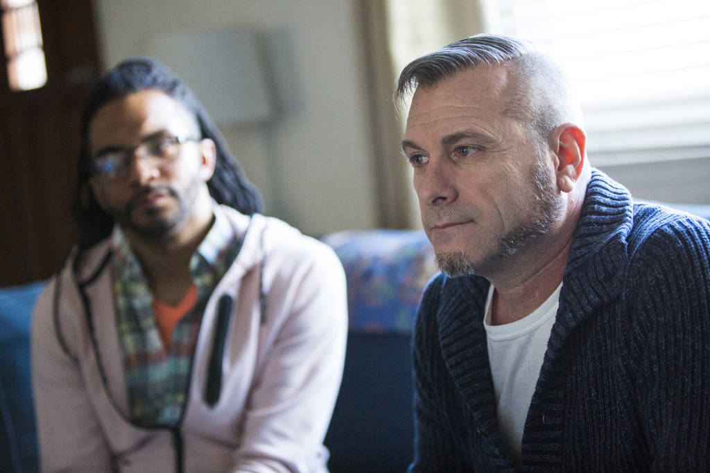 Jim Foley, right, who was diagnosed as HIV positive 30 years ago, talks about his experiences a ...