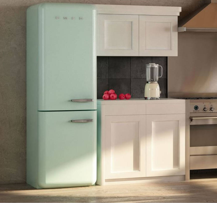 An icon of Italian design, the '50s-style Smeg two-door refrigerator is retro cool on the outsi ...